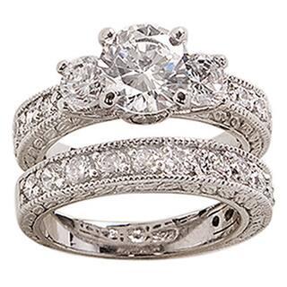 Nexte Jewelry White Rhodium Overlay Cubic Zirconia Bridal Inspired Ring Set