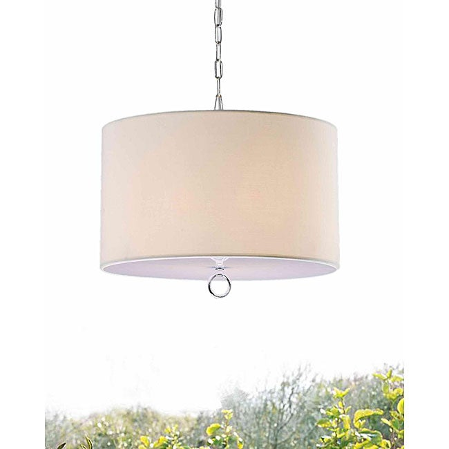 Beige Fabric 3-light Chrome Chandelier - Thumbnail 0