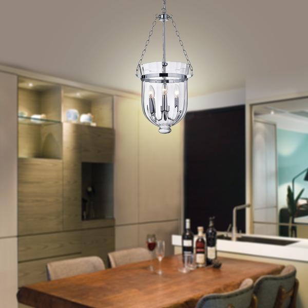 Chrome Finish Ribbed Glass Lantern Chandelier