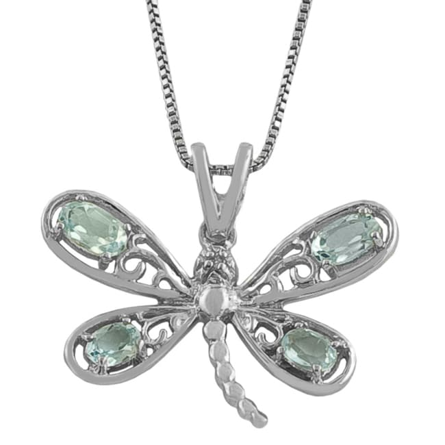 Fremada Sterling Silver Diamond and Blue Topaz Dragonfly Necklace