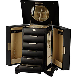 Contemporary Espresso Jewelry Box with Lock and Key