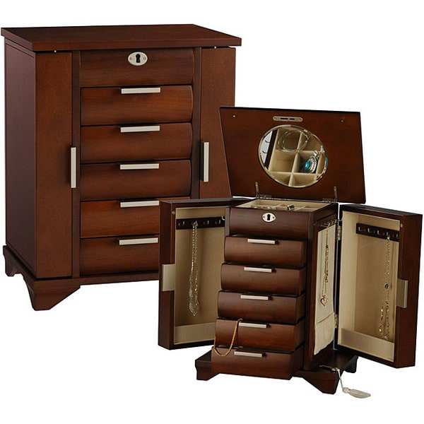 Contemporary Walnut Jewelry Box with Lock and Key