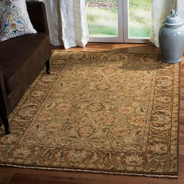 Heirloom Hand-knotted Treasures Green/ Gold Wool Rug (6' x 9') - 6' x 9'