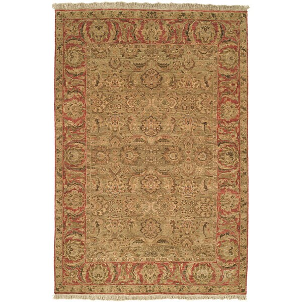 Safavieh Couture Old World Hand-Knotted Light Green/ Rust Wool Area Rug (9' x 12')