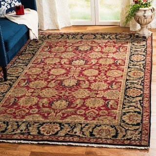 Heirloom Hand-knotted Treasures Red/ Navy Wool Rug (8' x 10')