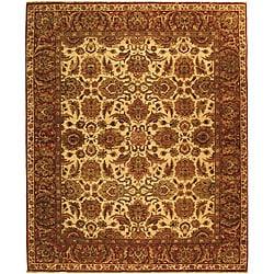 Heirloom Hand-knotted Hand-spun Wool Ivory/ Rust Rug (6' x 9')