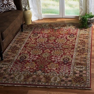 Heirloom Treasures Hand-knotted Red/ Gold Wool Rug (8' x 10')