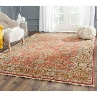 Chinese Treasures Hand-knotted Copper/ Green Wool Rug (6' x 9')