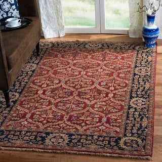 Heirloom Treasures Hand-knotted Red Rug (4' x 6')