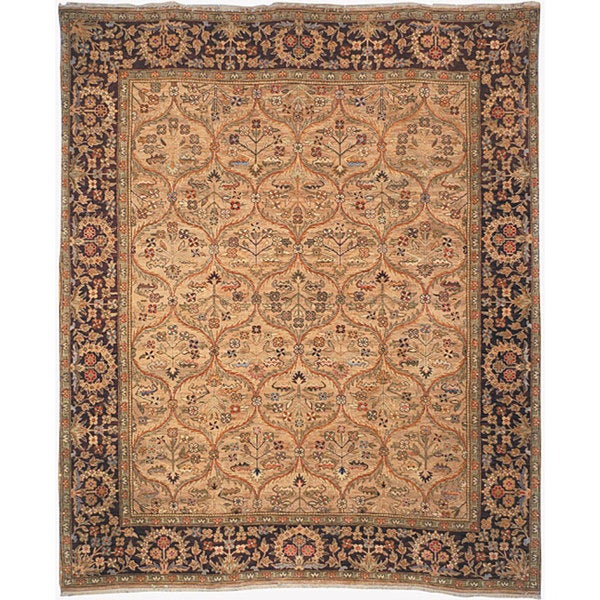 Safavieh Couture Old World Hand-Knotted Kerman Camel/ Wine Wool Area Rug - 4' x 6'