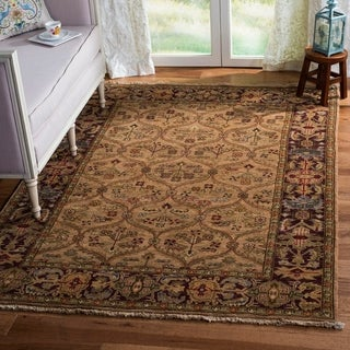 Safavieh Couture Old World Hand-Knotted Kerman Camel/ Wine Wool Area Rug (5' x 7'6)