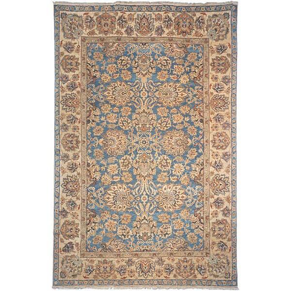 Heirloom Treasures Hand-knotted Blue/ Beige Wool Rug (9' x 12')