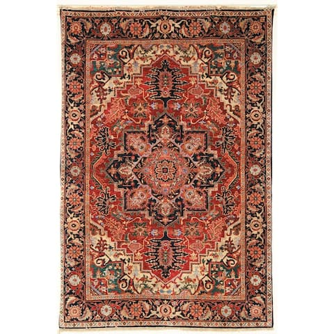 Heirloom Treasures Hand-knotted Red Wool Rug (5' x 7'6) - 5' x 7'6""
