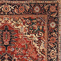 Heirloom Treasures Hand-knotted Red Wool Rug (6' x 9') - Thumbnail 1