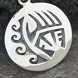 Handmade Sterling Silver Southwestern Tribal Design Pendant Mexico