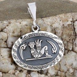 Handmade Sterling Silver Oval Aztec Pendant (Mexico)