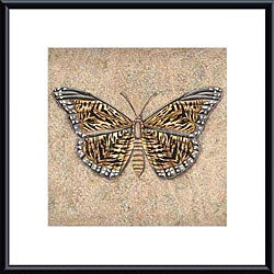 Brice 'Tiger Butterfly' Metal Framed Art Print