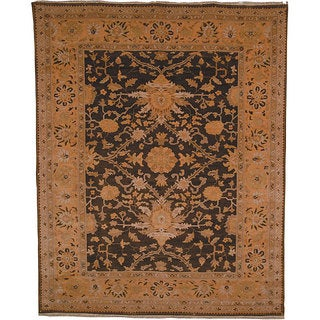 Handmade Mahal Oushak Green and Gold Wool Area Rug - 6' x 9'