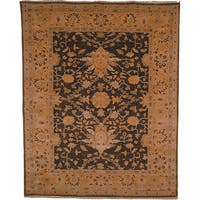 Oushak Hand-knotted Dark Green/ Gold Wool Rug - 8' x 10'