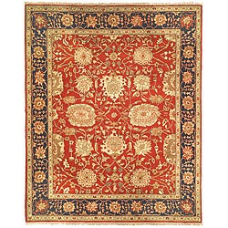 Oushak Hand-knotted Red/ Navy Wool Rug (8' x 10')