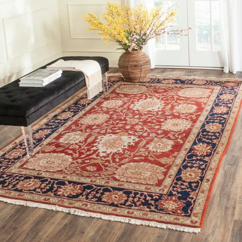 Handmade Oushak Red and Navy Wool Rug - 9' x 12'