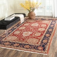 Safavieh Couture Zeigler Mahal Hand-Knotted Oushak Ivory/ Red Wool Area Rug (4' x 6')