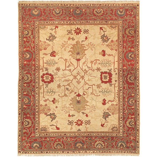 Oushak Hand-knotted Ivory/ Red Wool Rug (6' x 9')