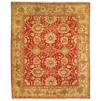 Handmade Safavieh Couture Zeigler Mahal Oushak Red/ Green Wool Area Rug - 8' x 10' (China, People's Republic of)