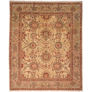 Oushak Hand-knotted Sarouk Beige/ Green Wool Rug (8' x 10')