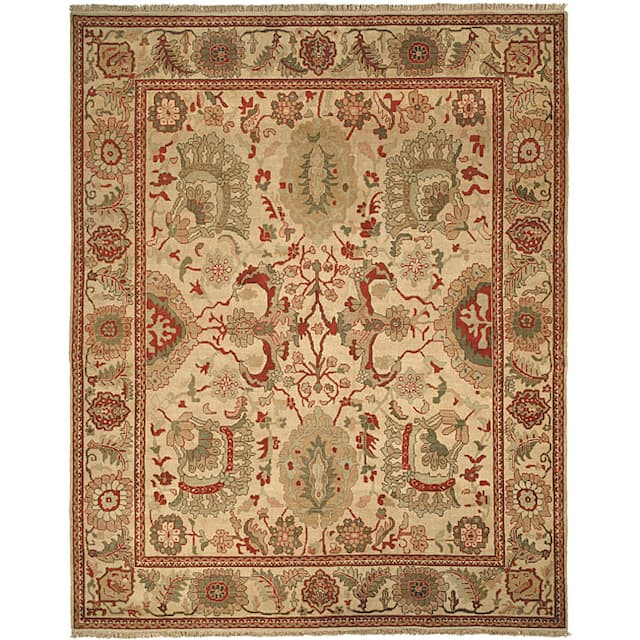 Couture Zeigler Mahal Oushak Ivory/ Rust Wool Area Rug - 9' x 12'
