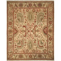 Safavieh Couture Zeigler Mahal Hand-Knotted Oushak Ivory/ Rust Wool Area Rug - 9' x 12'
