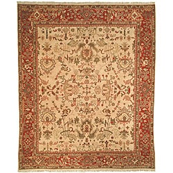 Herati Hand-knotted Ivory/ Red Hand-spun Wool Rug (9' x 12')