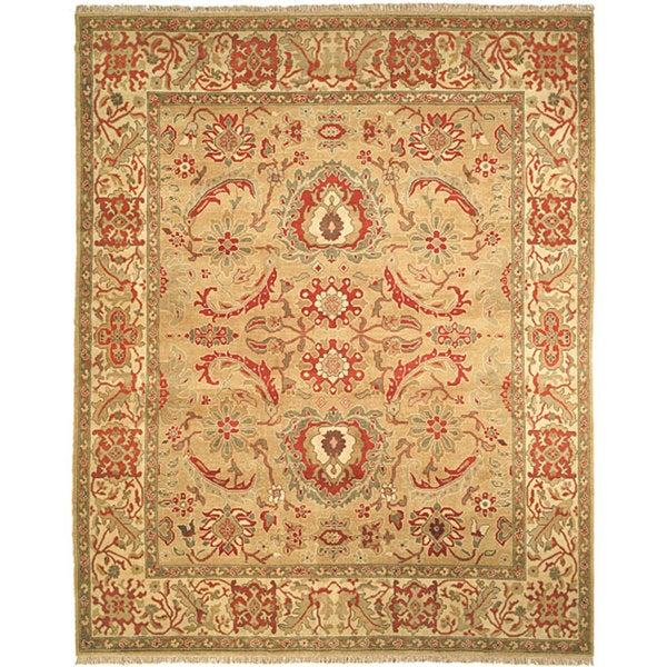Handmade Safavieh Couture Zeigler Mahal Sari Gold/ Ivory Wool Area Rug (China)