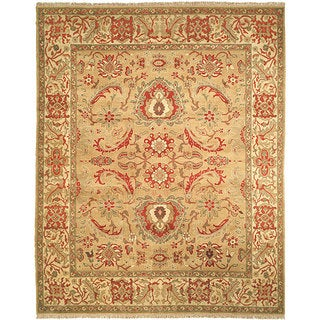 Oushak Hand-knotted Gold/ Ivory Wool Sari Rug (8' x 10')