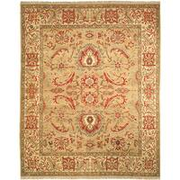 Safavieh Couture Zeigler Mahal Hand-Knotted Sari Gold/ Ivory Wool Area Rug (9' x 12')