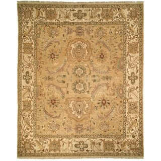 Handmade Safavieh Couture Zeigler Mahal Oushak Gold/ Ivory Wool Area Rug (China)