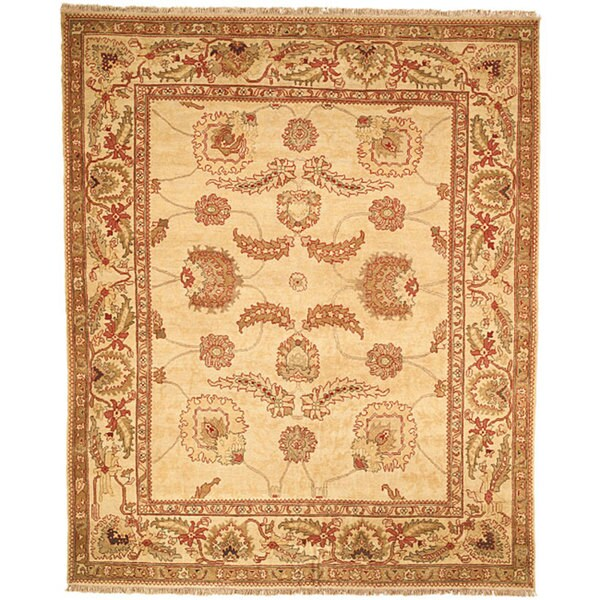 Safavieh Couture Zeigler Mahal Hand-Knotted Oushak Ivory/ Red Wool Area Rug (6' x 9')