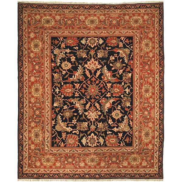 Safavieh Couture Zeigler Mahal Hand-Knotted Oushak Black/ Rust Wool Area Rug (10' x 14')