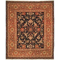 Handmade Safavieh Couture Zeigler Mahal Oushak Black/ Rust Wool Area Rug (China)