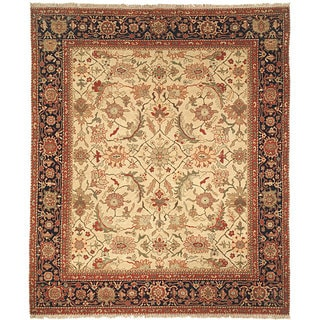 Heirloom Hand-knotted Ivory/ Blue Hand-spun Wool Rug (6' x 9')