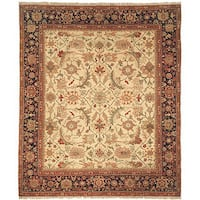Safavieh Couture Zeigler Mahal Hand-Knotted Oushak Ivory/ Blue Wool Area Rug - 6' x 9'