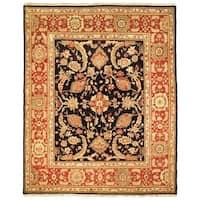 Safavieh Couture Zeigler Mahal Hand-Knotted Oushak Navy Blue/ Rust Wool Area Rug (8' x 10')