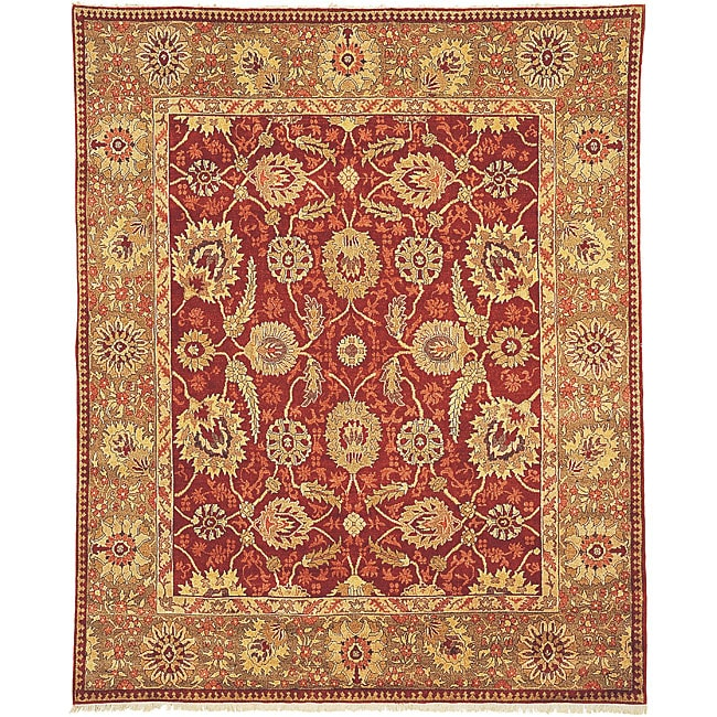 Oushak Legacy Hand-knotted Red/ Green Wool Rug (6' X 9