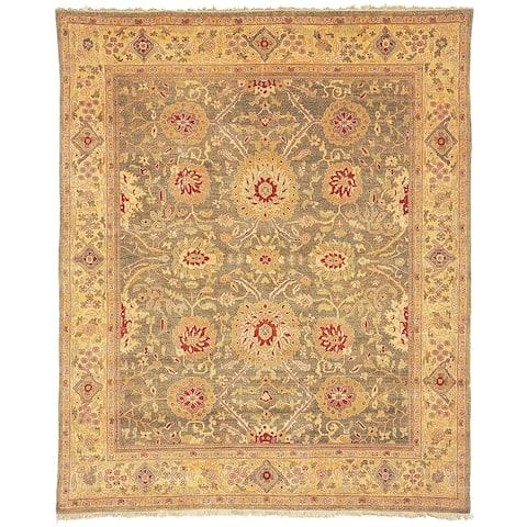 Handmade Oushak Birj Green and Gold Wool Rug - 8' x 10'