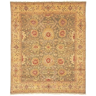 Handmade Safavieh Couture Zeigler Mahal Green/ Gold Wool Area Rug - 9' x 12' (China)
