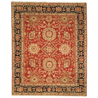 Safavieh Couture Zeigler Mahal Hand-Knotted Esfan Red/ Navy Wool Area Rug (6' x 9')
