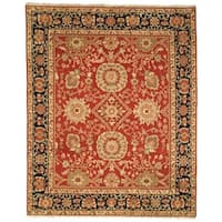 Safavieh Couture Zeigler Mahal Hand-Knotted Esfan Red/ Navy Wool Area Rug - 9' x 12'