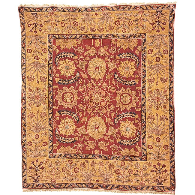 Oushak Hand-knotted Red/ Gold Wool Rug (6' x 9')