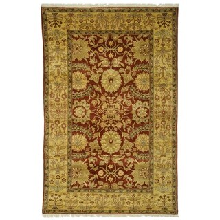 Safavieh Couture Zeigler Mahal Hand-Knotted Zardi Red/ Gold Wool Area Rug (6' x 9')