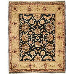 Oushak Hand-knotted Tabaz Black/ Ivory Wool Rug (8' x 10')